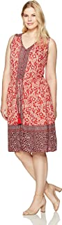 Lucky Brand Women's Plus Size Border Print Midi Dress