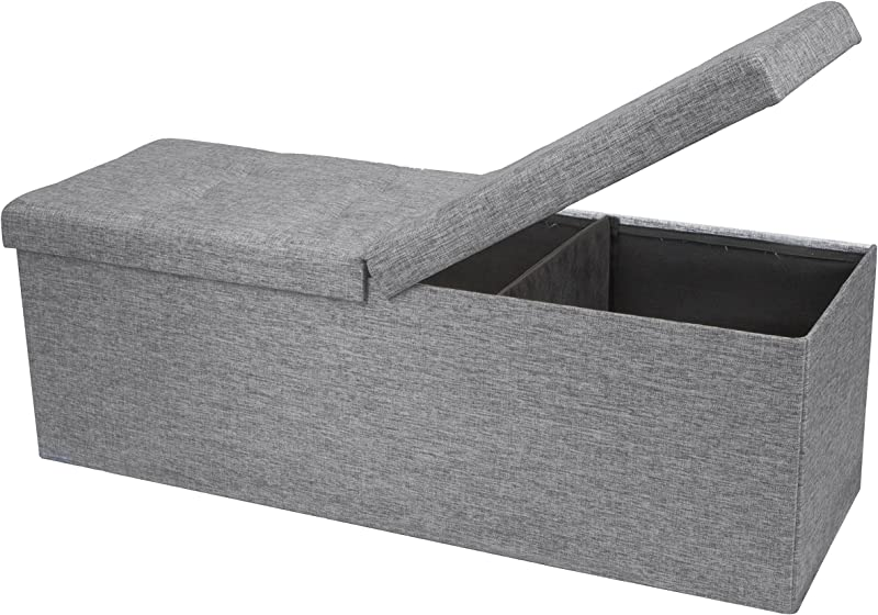 Otto Ben 45 Storage Folding Toy Box Chest With Smart Lift Top Linen Fabric Ottomans Bench Foot Rest For Bedroom And Living Room Light Grey