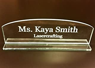 Acrylic Name Plate - Select Engraved or Color Option, Cove or Square Top (Engraved, Rounded Top)