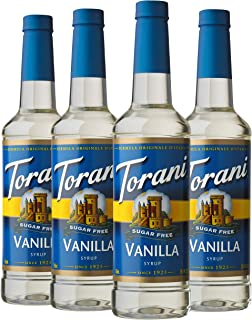 Torani Sugar Free Syrup, Vanilla, 25.4 Ounces (Pack of 4)