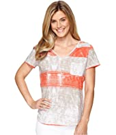 Tribal - Printed Jersey Short Sleeve Rolled V-Neck Top