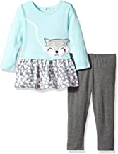 Youngland Toddler Girls' Cute Animal Face Applique Dress with Knit Legging