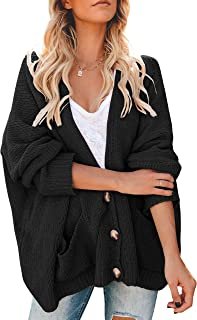 Gemijack Womens Plus Size Cardigan Sweaters Chunky Open Front Button Down Cable Knit Jumper Outwears with Pockets