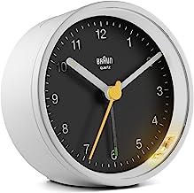 Braun Classic Analogue Clock with Snooze and Light, Quiet Quartz Movement, Crescendo Beep Alarm in White and Black, Model ...