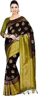 MIMOSA Women's Kanchipuram Art Silk Saree With Unstitched Blouse Piece (133_Black)