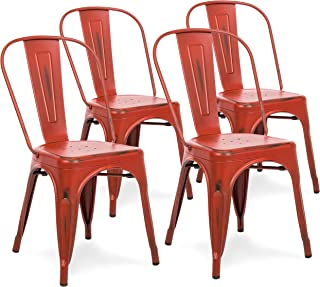 Best Choice Products Metal Industrial Distressed Bistro Chairs for Home, Dining Room, Café, Restaurant Set of 4, Red