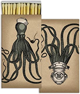 Decorative Octopus Match Box with Long Kitchen Matches Great for Lighting Candles, Grills, Fireplaces and More