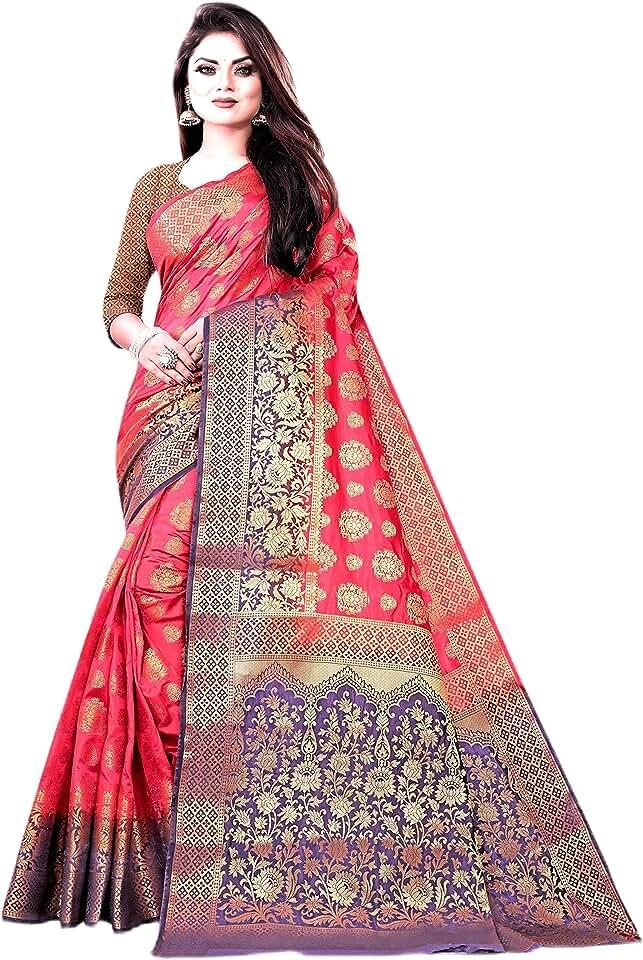 Indian C J Enterprise Women's Pure Kanjivaram Silk Saree With Blouse Piece Saree