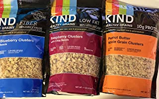 Kind Healthy Grains Clusters- Super Variety Packs 11 Oz (Pack of 3) Peanut Butter,Vanilla Blueberry,Rasberry by BAR