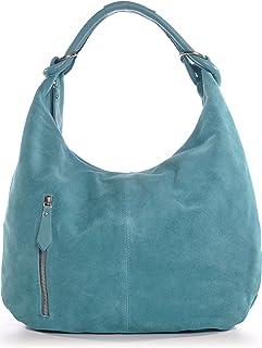 CNTMP Damen Schultertasche Leder, Hobo-Bag, Leder Handtasche Damen, Beuteltasche Wildleder, Leder-Tasche DIN-A4, 44x36x4cm B x H x T