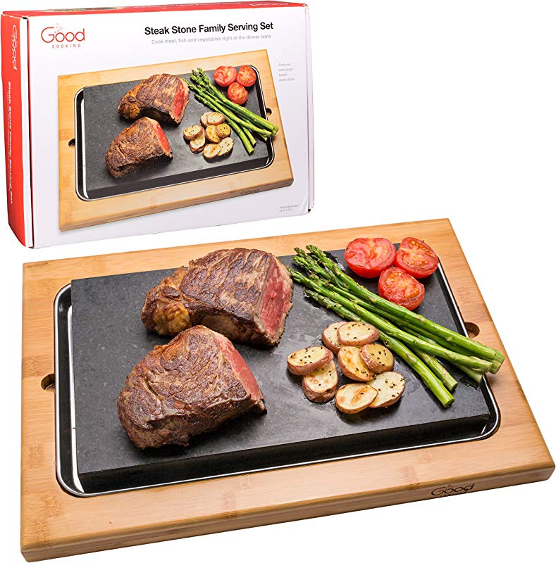 Cooking Stone Extra Large Lava Hot Stone Tabletop Grill Cooking Platter And Cold Lava Rock Hibachi Grilling Stone 12 5 X 7 5 W Bamboo Platter