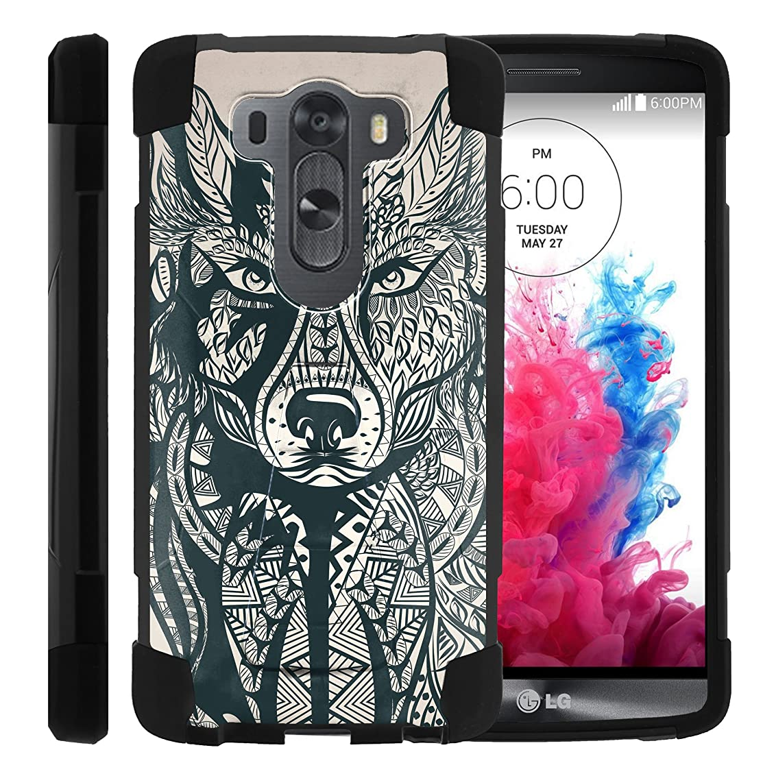 MINITURTLE Case Compatible w/LG V10 | Hybrid Shock Fusion Phone Cover w/Stand Exclusive Artistic Patterns, V10 Wolf Drawing