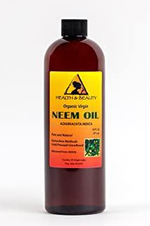 Neem Oil Organic Unrefined Concentrate by H&B OILS CENTER Virgin Raw Cold Pressed Premium Quality Natural Pure 16 oz