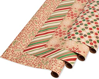 American Greetings Christmas Wrapping Paper, Red, Green and Kraft, Stripes, Polka Dots, Snowflakes and Holly (4 Pack, 80 sq. ft.)