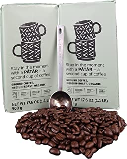 IKEA Ground Coffee, Medium Roast Bulk Bundle - 100% Organic Arabica Coffee - 17.6 Oz Each (Pack of 2 - Total 35.2 oz) With Stainless Steel Measuring Coffee Spoon