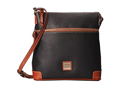 Dooney & Bourke Pebble Leather Crossbody (Black w/ Tan Trim) Cross Body Handbags