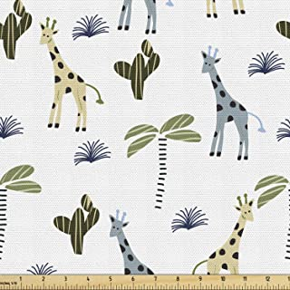 Ambesonne Cactus Print Fabric by The Yard, Arrangement of Jungle Giraffes and Plantation on a Plain Background, Decorative...