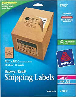 Avery Kraft Brown Shipping Labels 5-1/2 x 8-1/2, Pack of 50 (5783), Brown Kraft