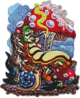 Smoking Caterpillar w/Pet Snail & Mushrooms Iron On Patch
