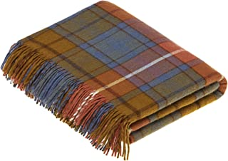 Moon Wool Plaid Throw Blanket, Merino Labmswool, Tartan Antique Buchanan, Made in UK