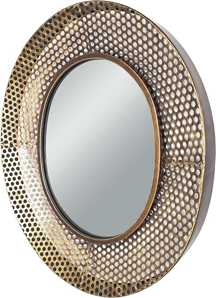 Haku möbel, specchio da parete, montatura in metallo con effetto 3d, verniciata rame con specchio incorporato 88994
