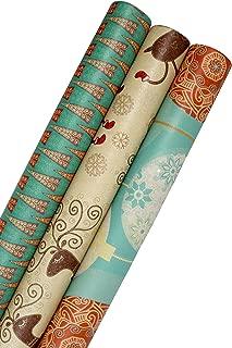 Printed Christmas Kraft Wrapping Paper Set (Reindeer-Bulbs-Trees on Brown Kraft)