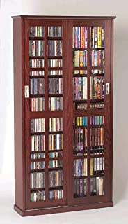 Leslie Dame Mission Multimedia DVD/CD Storage Cabinet with Sliding Glass Doors, Cherry