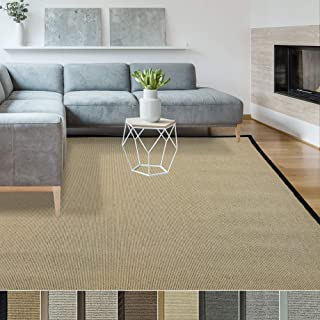 iCustomRug Zara Synthetic Sisal Collection Area Rug and Custom Size Runners, Softer Than Natural Sisal Rug, Stain Resistant & Easy to Clean Beautiful Border Rug in Black 2' X 5'