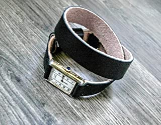Double Wrap watch band, leather band, black leather band, watch band, watch strap, brown band 16mm, 18mm, 20mm, 22mm