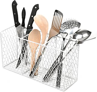 3 Compartment Rustic Chicken Wire Kitchen Utensil Holder Basket, Pantry Storage Rack, White