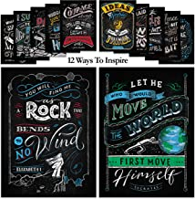 12 Inspirational Posters for Classroom, Home & Office Decorations - 13x18 | Hand-Drawn Motivational Posters with Historical Inspirational Quotes | Educational Classroom Posters for Teachers & Students