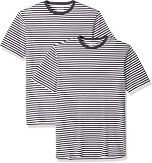 Amazon Essentials Men's Slim-fit Short-Sleeve 2-Pack Stripe Crewneck T-Shirts
