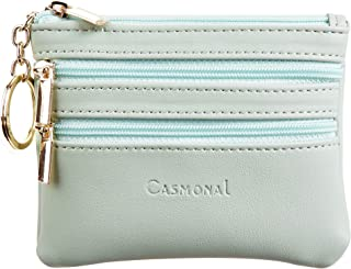 Casmonal Womens Genuine Leather Coin Change Purse Pouch Slim Minimalist Front Pocket Wallet Key Ring