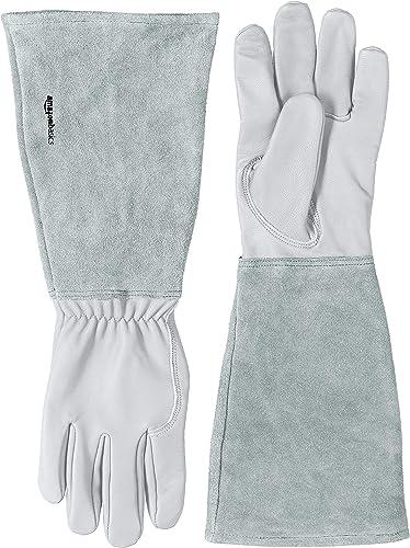 Amazon Basics Gants de jardinage avec protection des avant-bras, cuir, naturel, taille L