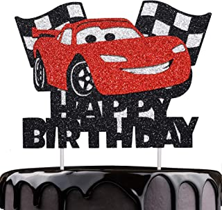 Artczlay Happy Birthday Cake Decoration Racing Flash Cake Topper Checkered Flag Racing Theme Party Supplies Baby Shower Ca...