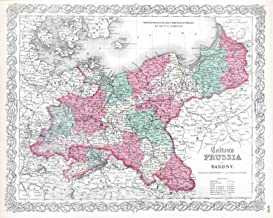 Historic Map - 1865 Prussia and Saxony. - Vintage Wall Art - 55in x 44in