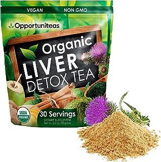 Organic Liver Detox Tea - Matcha Green Tea, Milk Thistle, Coconut Water, Spirulina, Ginger, & Cinnamon - Natural Cleanse t...