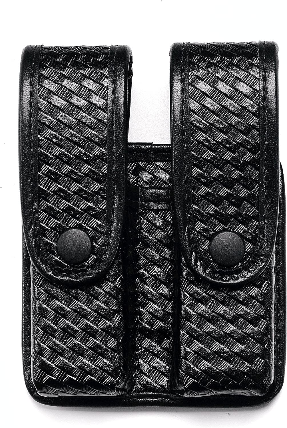 UNCLE MIKE'S Mirage Basketweave Double Stack Duty Divided Double Mag Case, Black