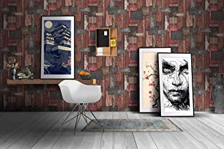 Store2508® Premium Textured Self Adhesive Sticker Wallpaper, Retro Riveted Wooden Planks Design. Full Roll (0.53 * 10 Metre, 57 Square Feet). (10 metres)