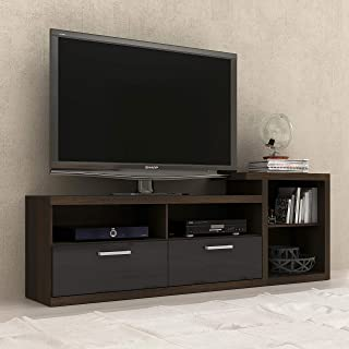 """Tecnomobili MDP TV Rack 50"""" R1455, 15mm, two drawers, Open-concept TV stand offers space-optimizing convenience, Black, 70..."""