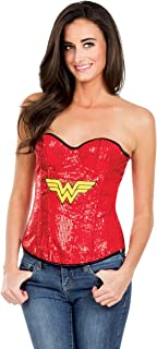 Secret Wishes DC Comics Justice League Superhero Style Adult Corset Top with Logo Sequined Wonder Woman, Red, Large