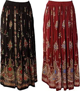 JOTW Women's 2 Pack Of Indian Long Skirts With Sequins & Embroidered Designs (Ind#9603) (Black/Red And Burgundy/Blue)