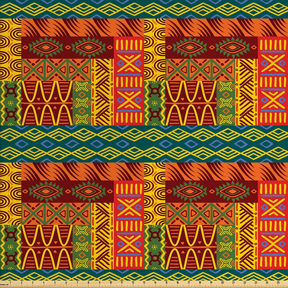 Lunarable Yellow and Brown Fabric by The Yard, Ethnic Aztec African Classic Tribal Motif with Popular Geometric Forms, Decorative Fabric for Upholstery and Home Accents, 2 Yards, Multicolor