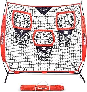 GoSports 橄榄球训练器投球网 | 可选 8 英尺 x 8 英尺或 6 英尺 x 6 英尺网|提高二极碳投掷准确度 - 包括可折叠弓框架和便携式手提箱