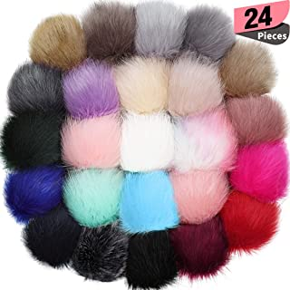 24 Pieces Faux Fox Fur Pom Pom Balls with Elastic Loop DIY Faux Fur Fluffy Pompoms Ball with Rubber Band Knitting Accessories for Hats Shoes Scarves Bags Keychain Charms (Mix Bright Color)