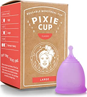 Pixie Menstrual Cup - Most Comfortable Authentic Silicone Period Cup and Best Removal Stem - Tampon and Pad Organic Altern...