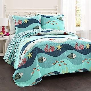 Lush Decor Sealife Fish Ocean Wave Reversible 2 Piece Blue Quilt Bedding Set, Twin