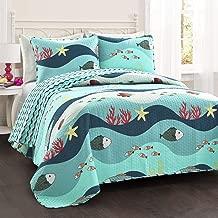 Lush Decor Sealife Fish Ocean Wave Reversible 2 Piece Blue Quilt Bedding Set, Twin,