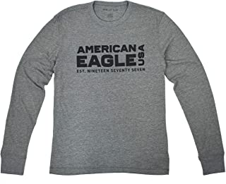 33c32394fa75 American Eagle Mens 3879-020 Long Sleeve AE Graphic Sleeve Tee Shirt  Heather Grey