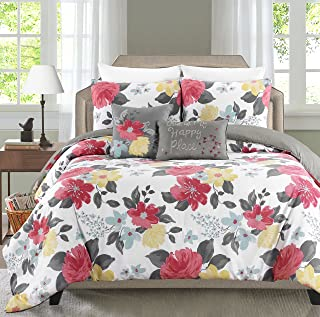 Blissful Living Printed 4-5 Piece Comforter Set Including 2 Decorative Pillows and Sham(s) Down Alternative, Brushed Microfiber for a Soft & Luxurious Feel (Gwenevere Sherbert, Twin)
